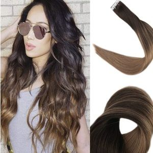 "✨ 22"" #2fading to #8 HUMAN HAIR TAPE INS *NWT*"
